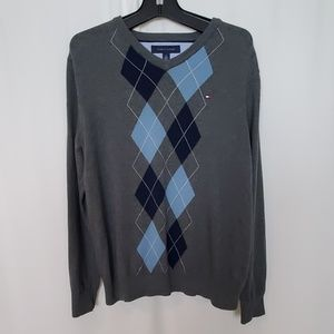 Tommy Hilfiger Men's Grey Cotton Argyle Sweater